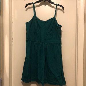 Teal pinstripe mini dress